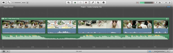 in addition though not specifically highlighted in the demonstration imovie 11 features single row viewknown to most people familiar with non linear