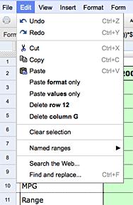 Google Docs menu