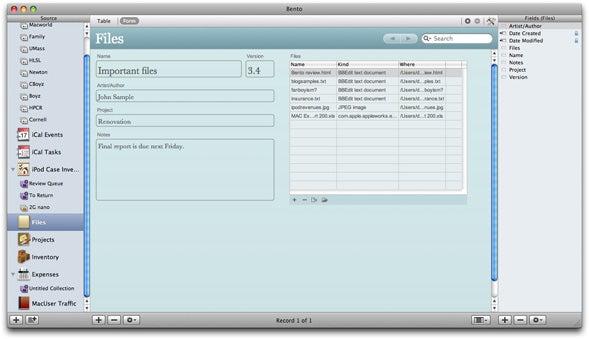 bento database templates - bento 1 0 2 macworld