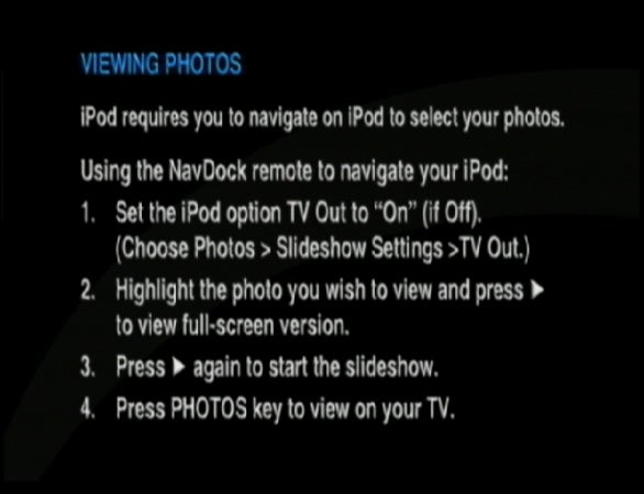 NavDock photo browsing message