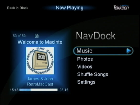 NavDock top menu with art display