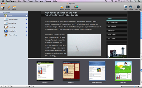RapidWeaver full screenshot