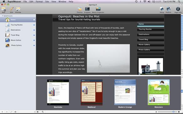 RapidWeaver full screenshot