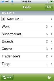 Zenbe Lists main screen