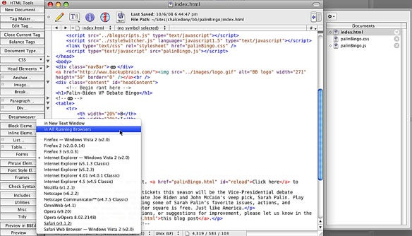 BBEdit 9 browser preview