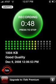 iTalk Recorder's recording screen