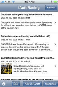 Auto Racing  Sports Nascar on Nascar In Your Pocket  Auto Racing Live Gathers Racing Headlines From
