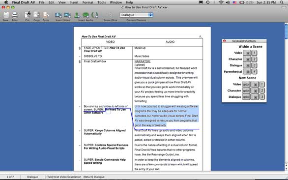 Final draft av 2 5 macworld for Av script template