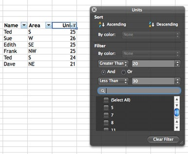 Improved filters: Excel 2011's filters are more in line with their Windows counterparts.