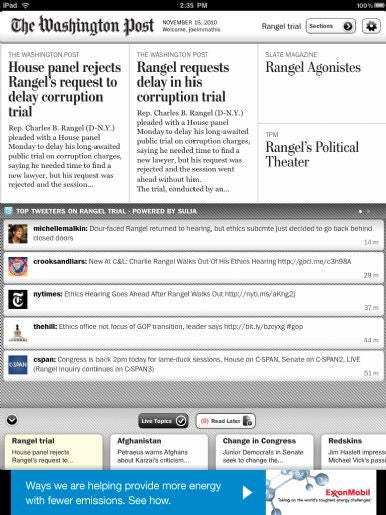 The classic look of the Washington Post updated for the iPad