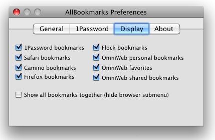 AllBookmarks preferences
