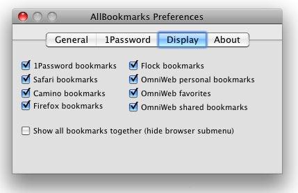 AllBookmarks preferences