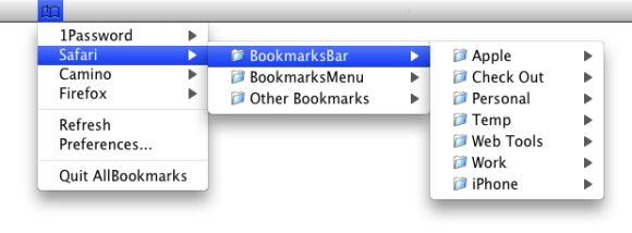 AllBookmarks menu