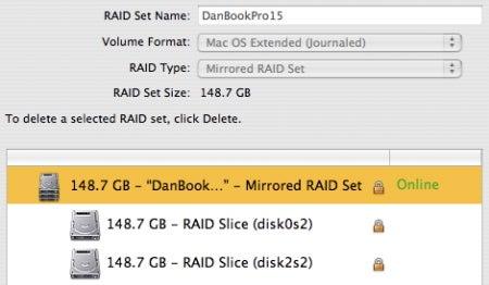 OptiBay drive RAID in Disk Utility